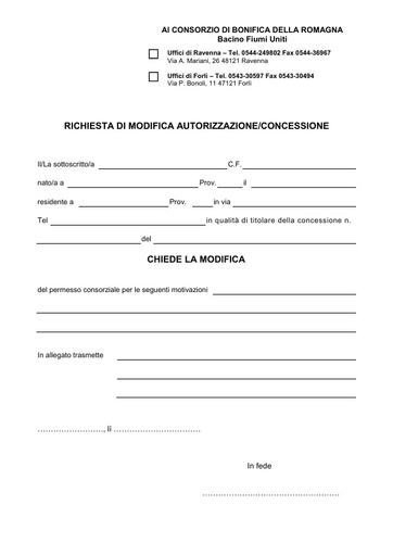 Richiesta di Modifica Autorizzazione/Concessinoe (Fiumi Uniti) 2016/4