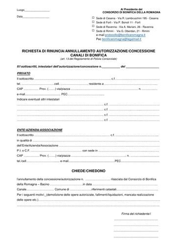 Richesta di Rinuncia/Annullamento autorizzazione concessione Canali di Bonifica 2017/3