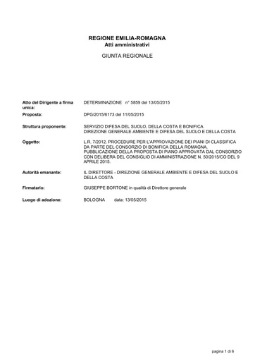 Determina N.5859 - Procedure per l'Approvazione dei Piani di Classifica