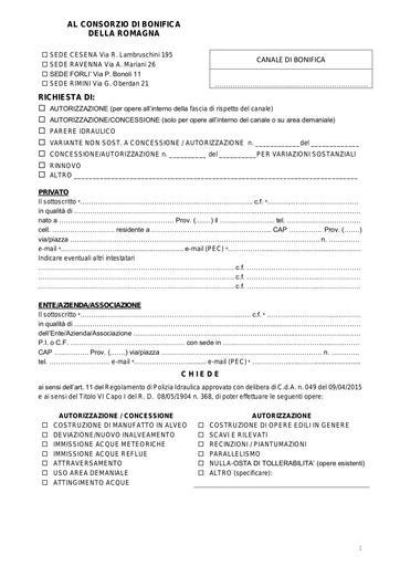 Modello unico per Domanda Concessione/Autorizzazione agg. 2021